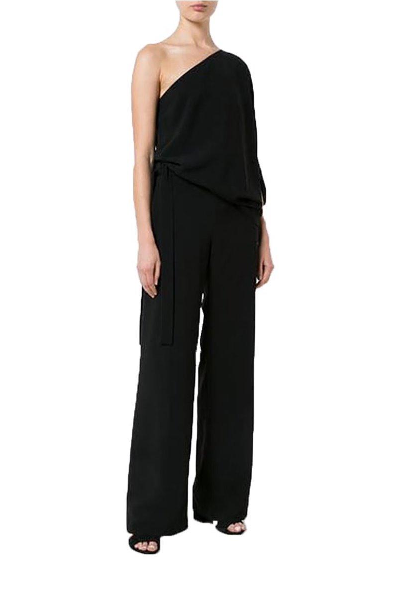 Halston - Asymmetrical  Sleeve Wide Leg Jumpsuit - Black