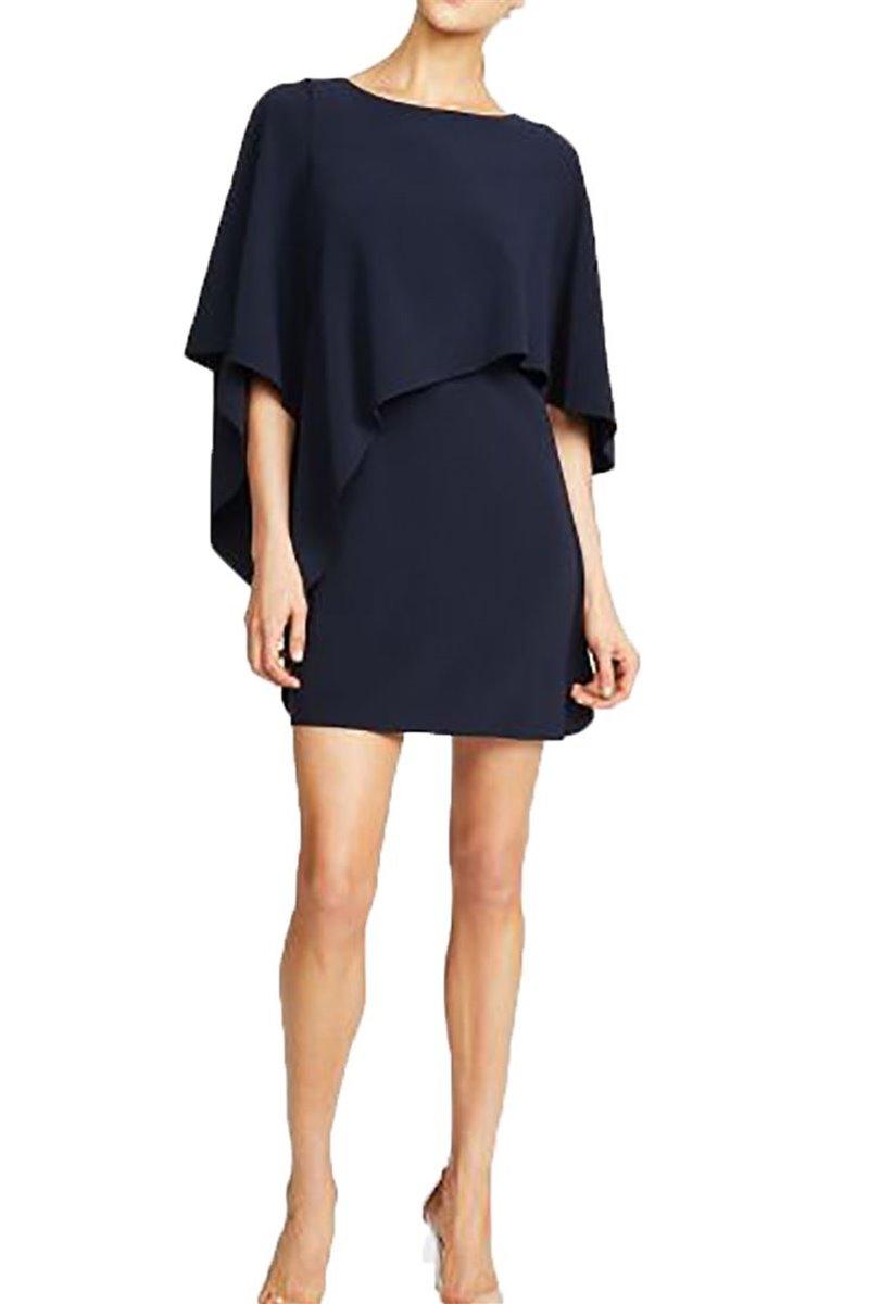 Halston - Flowy Sleeve Boatneck Asymmetrical Drape Dress - Dark Navy