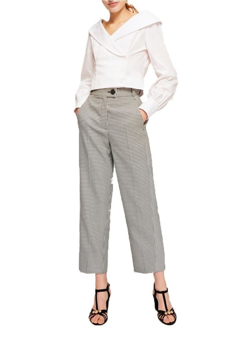 Tara Jarmon - Women's High Waist Houndstooth Pants - Ecru