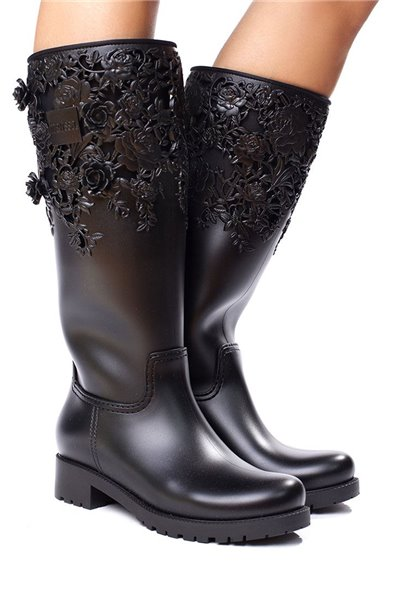 Melissa - Flower Boot High - Black