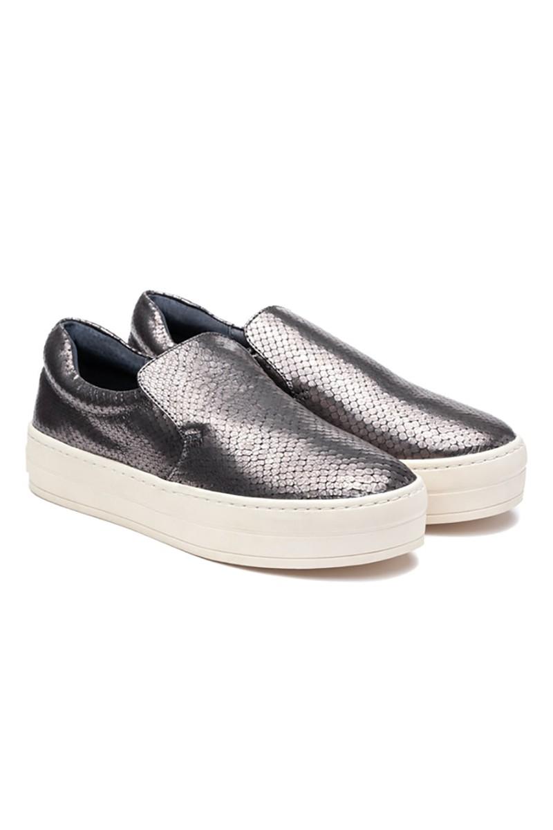 JSlides - Harry Embossed Leather Shoe - Pewter