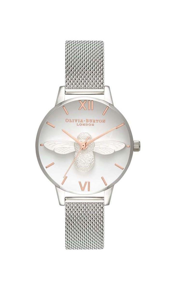 Olivia Burton - Women's 3D Bee Watch - Rose Gold  Silver Mesh (not map