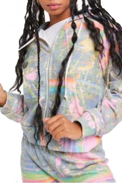 Wildfox - Women's Galaxy Glitch Regan Zip Hoodie - Multi