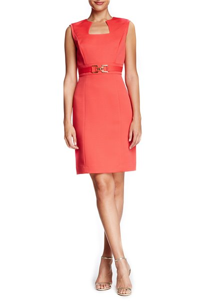 Tahari - Sleeveless Horseshoe Faille Sheath Dress