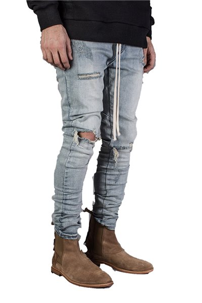Kollar - Men's Blown Out Knee Denim - Sand Blue