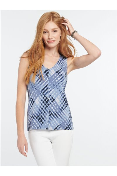Nic+Zoe - CROSS OVER TANK - Blue Multi