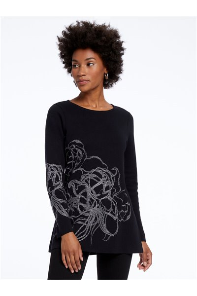 Nic+Zoe - BLOSSOM TOP - Black Onyx