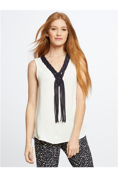 Nic+Zoe - KNOW THE ROPES TANK - Paper White