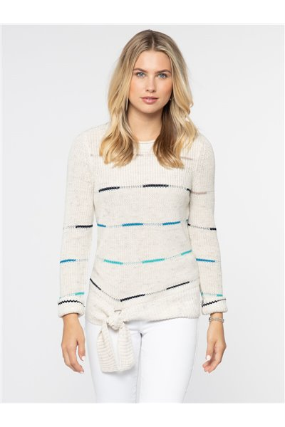 Nic+Zoe - FRESH PATH SWEATER - MILKWHITE HEATHER