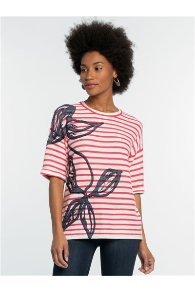 Nic+Zoe - BOTANIC STRIPE SWEATER - Pink Multi