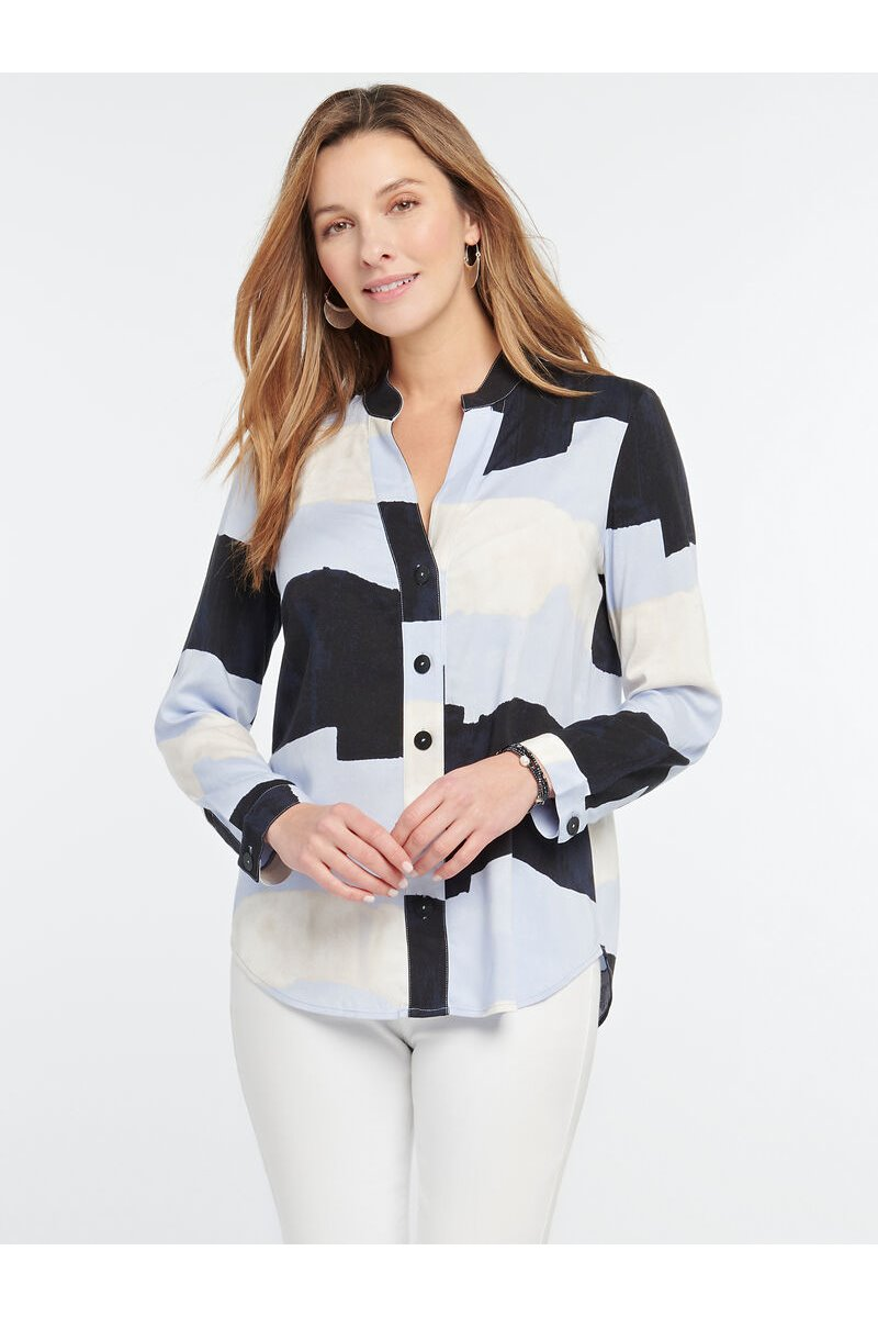 Nic+Zoe - IN THE CLOUDS SHIRT - Blue Multi