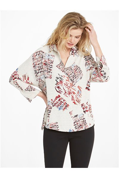 Nic+Zoe - SCATTERED LETTERS BLOUSE - NEUTRAL MULTI