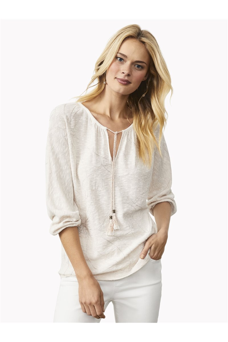 Nic+Zoe - ETCHED FLORALS SWEATER - White Multi