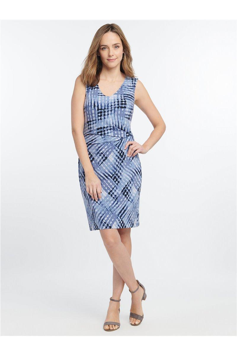 Nic+Zoe - CROSS OVER TWIST DRESS - Blue Multi