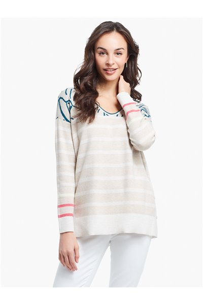 Nic+Zoe - THIS AND THAT SWEATER - NEUTRAL MULTI