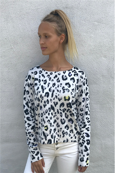 Brodie - LUCY LEOPARD COLOUR POP SWEATER - ICE WATER/LEMON SORBET