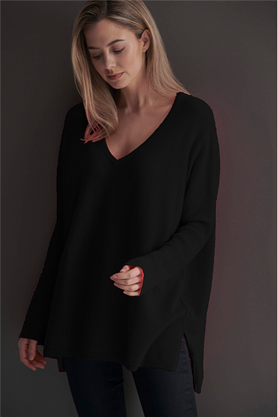 Brodie - MISS DARCEY 7GG LOOSE SWEATER - BLACK 010