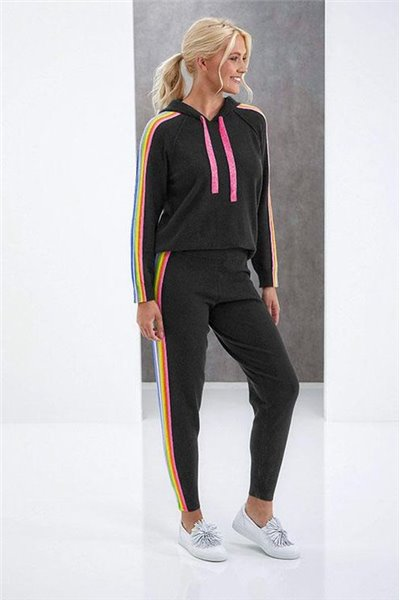 Brodie - RUBY RAINBOW HOODIE - CHARCOAL/RAINBOW SIDE STRIPE