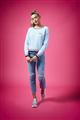 Brodie - SASHA SWEATER - BLUE MIST/NEON PINK