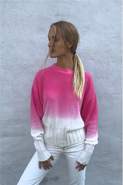Brodie - SOPHIA DIP DYE SWEATER - ICE WATER/HOT PINK DYE