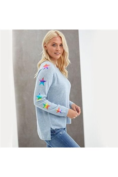 Brodie - STAR SLEEVE FOIL SWEAT TOP - SKY/RAINBOW FOIL STARS