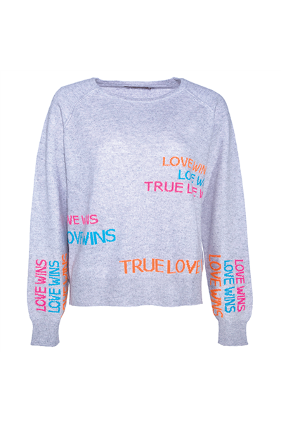 Brodie - TRUE LOVE MINI SWEATER - FLINT GREY/NEON PINK