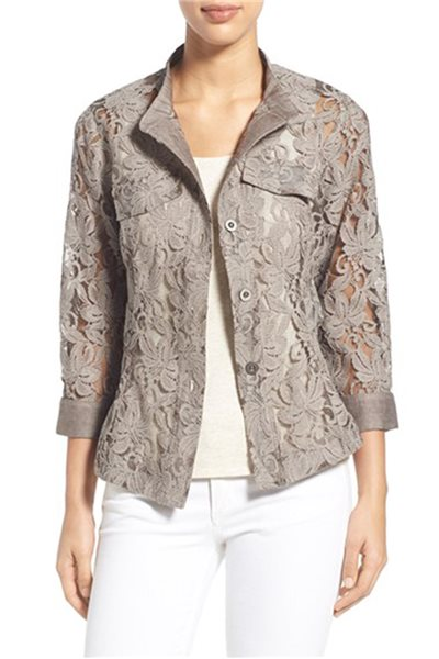 Nic+Zoe - Heirloom Flowers Lace Shirt Jacket - Mushroom